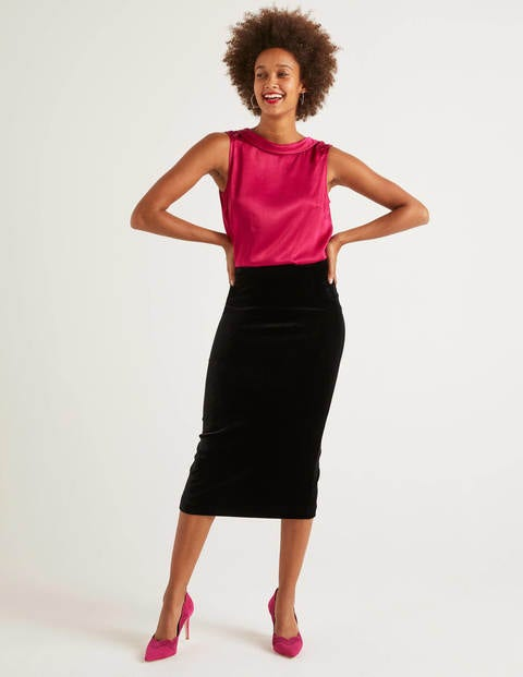 Lorna Velvet Pencil Skirt - Black