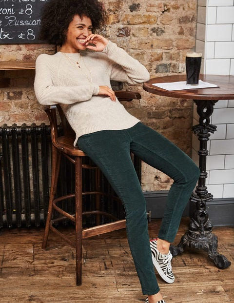 Cord Slim Straight Jeans - Woodland Green