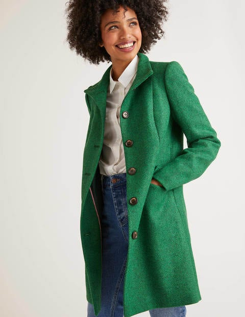 Hengrave Tweed Coat - Bright Green Herringbone