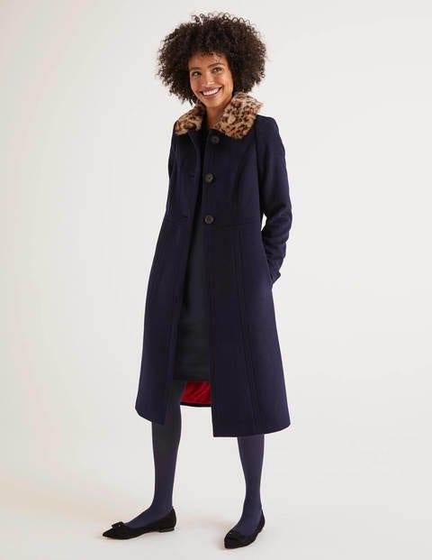 Fur Collar Coat - Navy