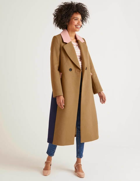 Burney Coat   Camel/Milkshake/Navy by Boden