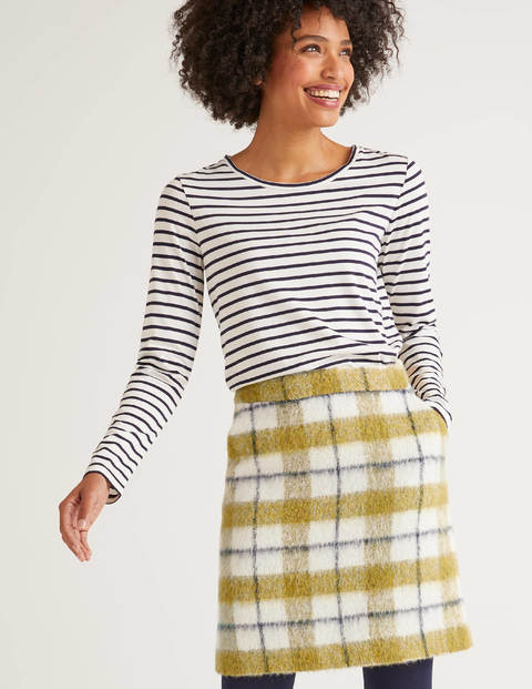 Betsy Mini Skirt - Ivory/Yellow Check