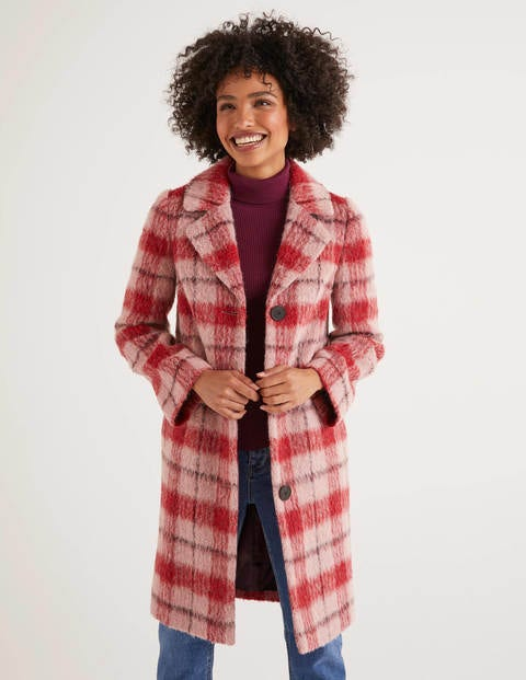 Boudica Coat - Pink/Berry Check