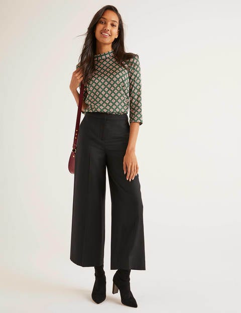British Tweed Culottes - Solid Black