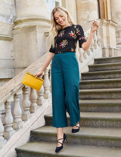 British Tweed Culottes - Teal Herringbone