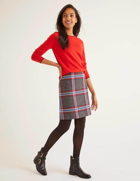 British Tweed Mini Skirt - Grey Marl Check