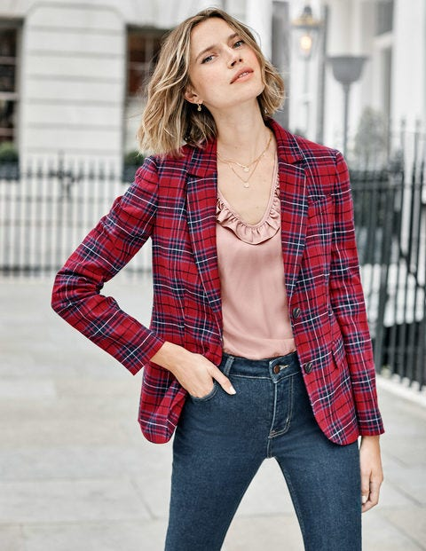 Inverness Blazer - Poinsettia, River Check