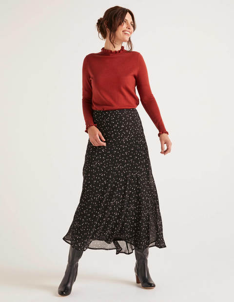 Tabitha Midi Skirt - Black, Sweet Flower