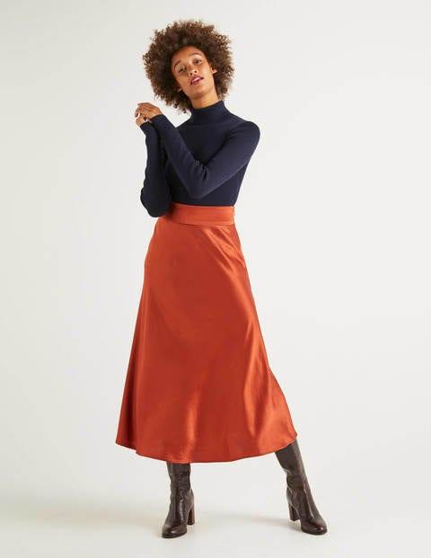 Tessa Midi Skirt - Copper Red