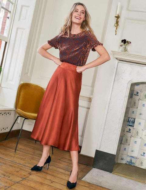 Stackpole Midi Skirt - Copper Red