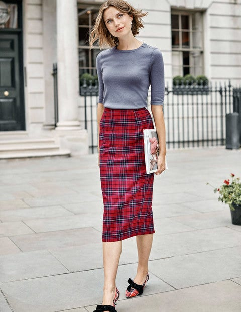 Inverness Pencil Skirt - Poinsettia, River Check