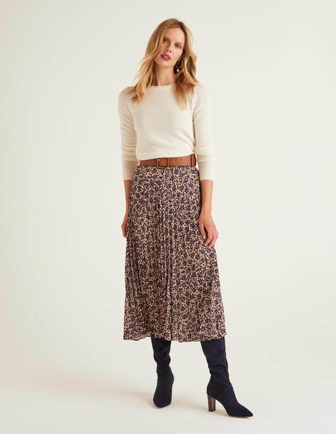 Camille Skirt - Warm Brown, Floral Leopard
