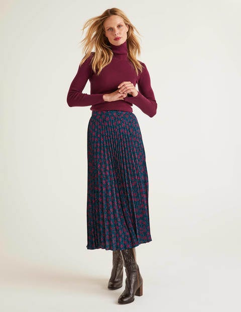 Camille Pleated Skirt - Ruby Ring, Floral Leopard