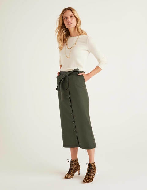 Isabel Stitch Detail Skirt - Classic Khaki