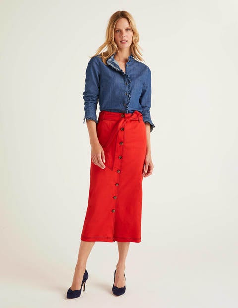 Isabel Stitch Detail Skirt - Post Box Red