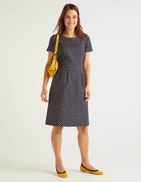 Sierra Textured Dress - French Navy, Twin Spot