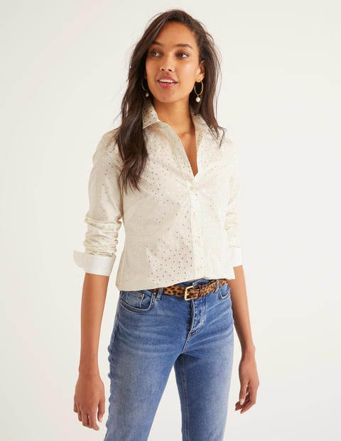Modern Classic Shirt - Ivory and Gold, Polka Dot