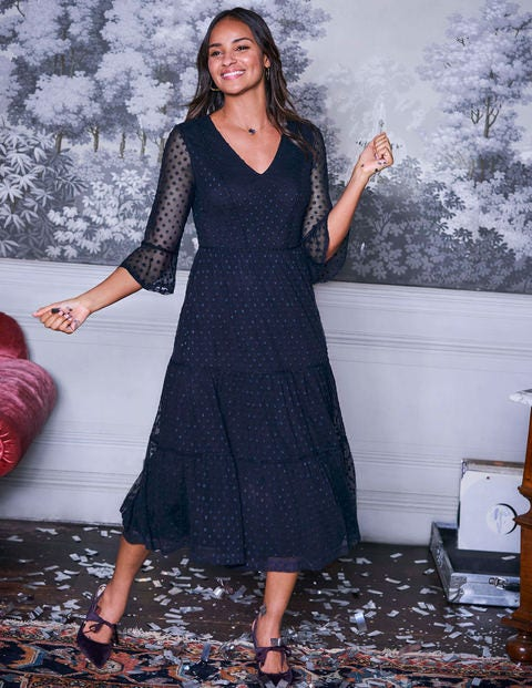 Rosanna Embroidered Dress - French Navy