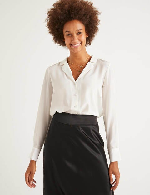 Tabitha Silk Shirt - Ivory