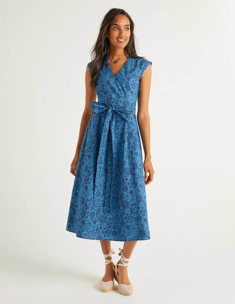 Tori Midi Dress - Aegean Blue Festival Paisley