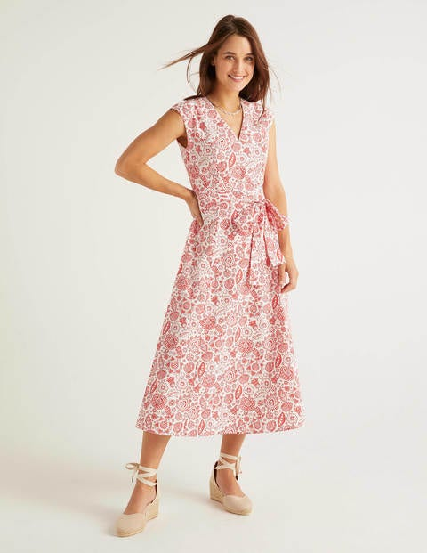 Tori Midi Dress Red Women Boden, Navy