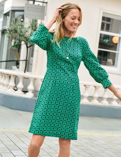 Kate Linen Dress - Rich Emerald Sun Dial