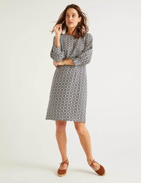 Kate Linen Dress - French Navy Sun Dial