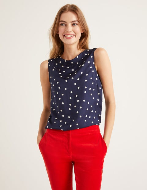 Adriana Top - Navy Scattered Dot
