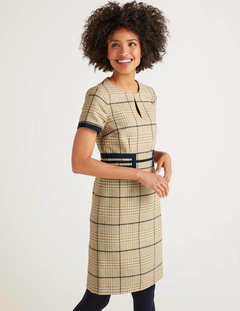 Bridget Tweed Dress - Camel, Navy Check