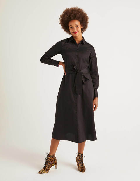 Isodora Midi Shirt Dress - Black