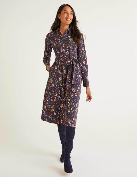 Isodora Midi Shirt Dress - Navy Saffron, Whimsical Bird