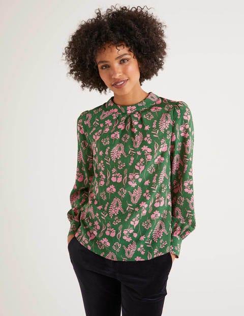 Victorian Blouses, Tops, Shirts, Sweaters Gabriella Silk Blouse Green Women Boden Tan £110.00 AT vintagedancer.com