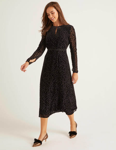 Marie Devore Dress - Black, Chic Leopard