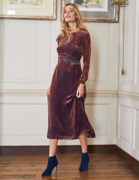 Marie Devore Dress - Copper Red, Chic Leopard