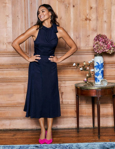 Brooke Devoré-Kleid - Navy, Gepunktet