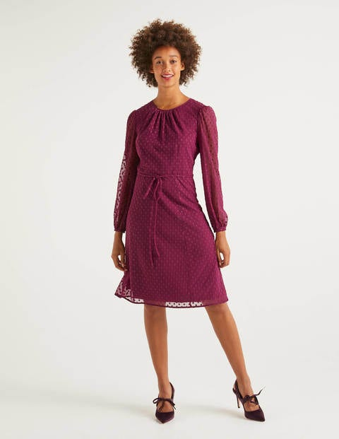 Jenna Embroidered Dress - Beetroot