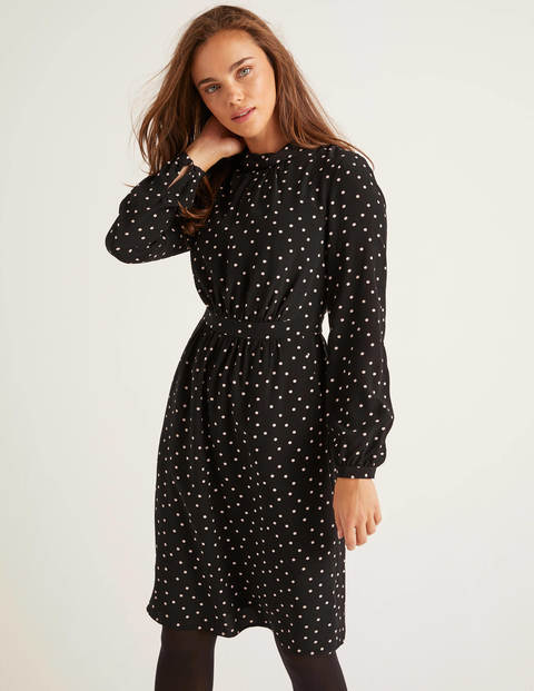Lucinda Dress - Black and Camel, Polka Spot