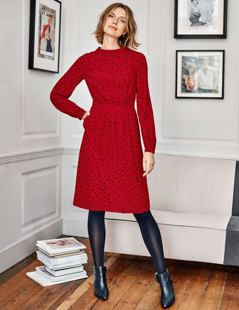 Lucinda Dress - Poinsettia, Polka Spot