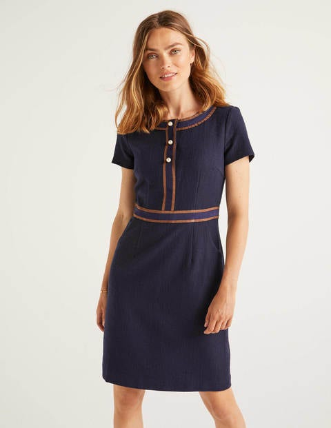 Anna Textured Dress - Navy
