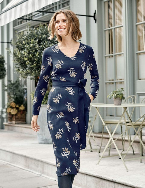 Romaine Dress - French Navy, Meadowsweet
