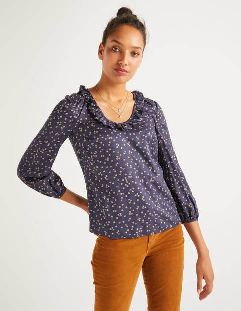 Marina Blouse - French Navy, Sweet Flower
