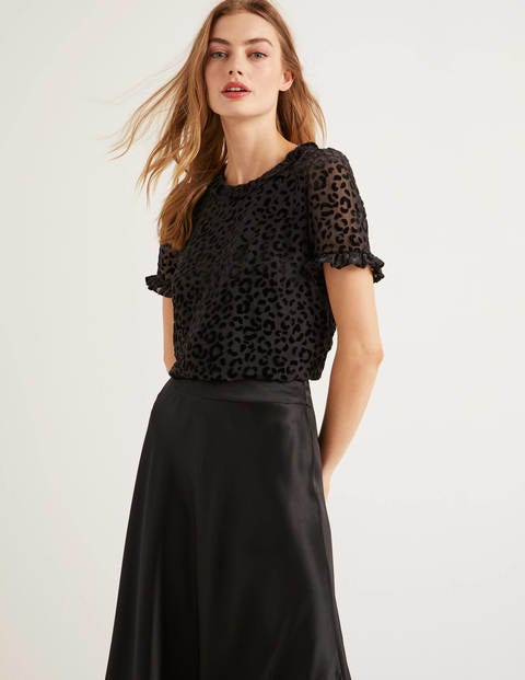 Romy Devore Top - Black, Chic Leopard Mono
