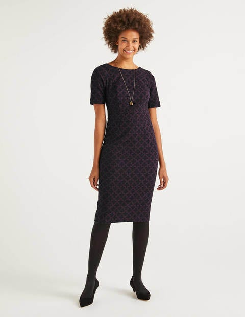 Talia Textured Dress - Fig, Poppyseed Bud