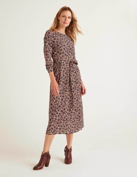 Lydia Dress - Warm Brown, Floral Leopard
