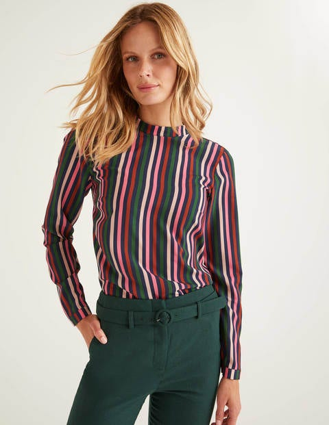 Lilian Top - Crayon Pink and Conker Stripe