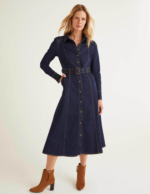 Mira Denim Midi Dress - Rinse Indigo