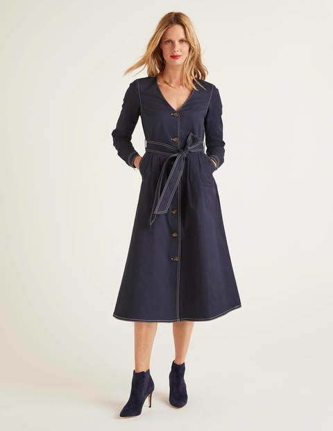 Isabel Stitch Detail Dress - Navy