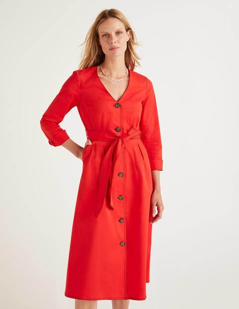 Isabel Stitch Detail Dress - Post Box Red