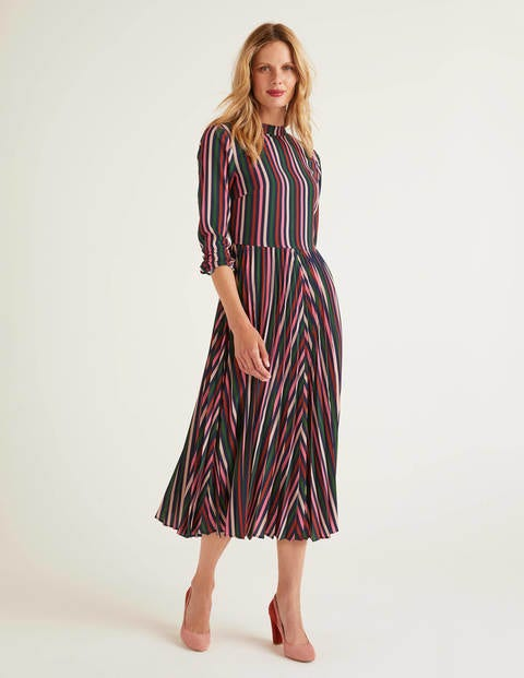 Camille Pleated Dress - Crayon Pink and Conker Stripe