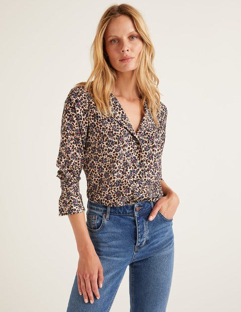 Tamara Blouse - Warm Brown Floral Leopard